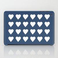 16 Hearts White On Navy iPad Case
