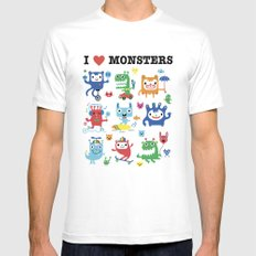 Monster Love Mens Fitted Tee SMALL White