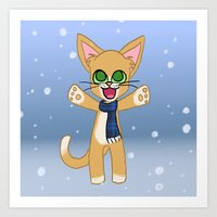 Happy Cat Winter style Art Print