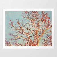 Change is in the Air -- Painterly Tree Branches From Fall to Winter Art Print