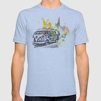 Classic Vw Volkswagen Bus Van Painting Mens Fitted Tee Athletic Blue SMALL