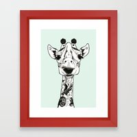 Giraffe Tattooed  Framed Art Print
