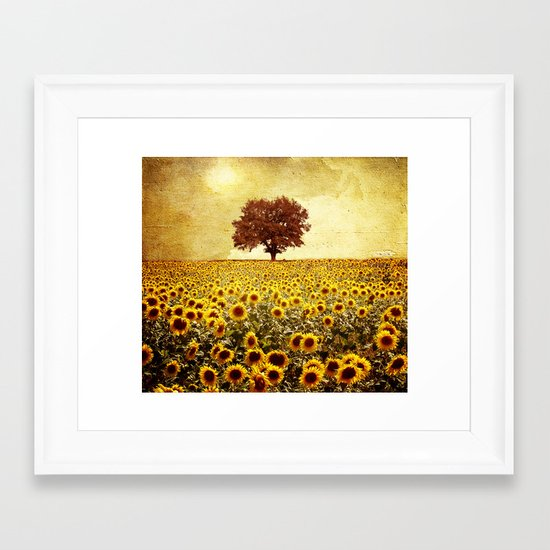 lone tree & sunflowers field Framed Art Print