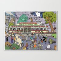 Mayhem at Mickey's Diner Canvas Print