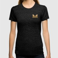 Pocket Tabby Cat Womens Fitted Tee Tri-Black MEDIUM