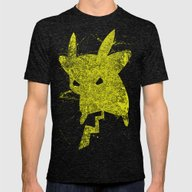 Pikachu Mens Fitted Tee Tri-Black SMALL