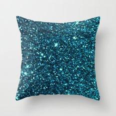 blue sparkle Throw Pillow