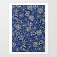 Flowers at night Art Print