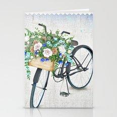 Black bike & roses Stationery Cards