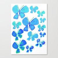 butterflies, butterfly print, butterfly illustration, butterfly pattern, art, print, design,  Canvas Print