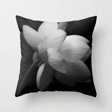 Black & While Lotus II Throw Pillow