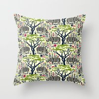 Rhino Jungle Throw Pillow