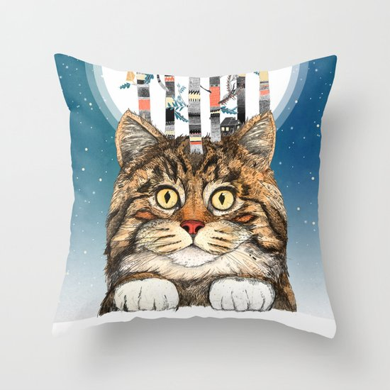 Feline Forest Throw Pillow