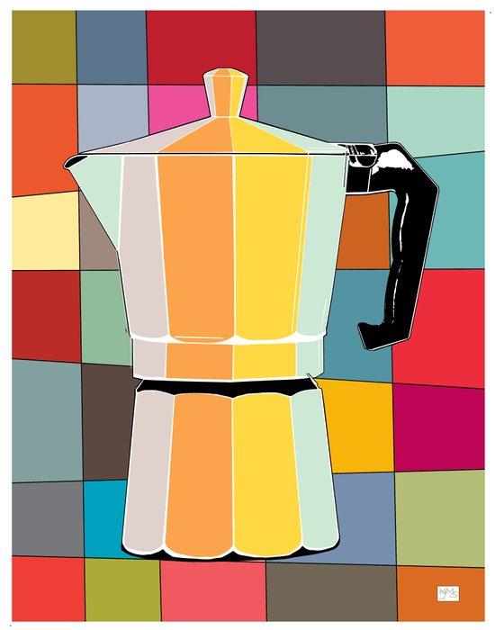Retro Espresso Pot on Mid Century Palette Background Art Print