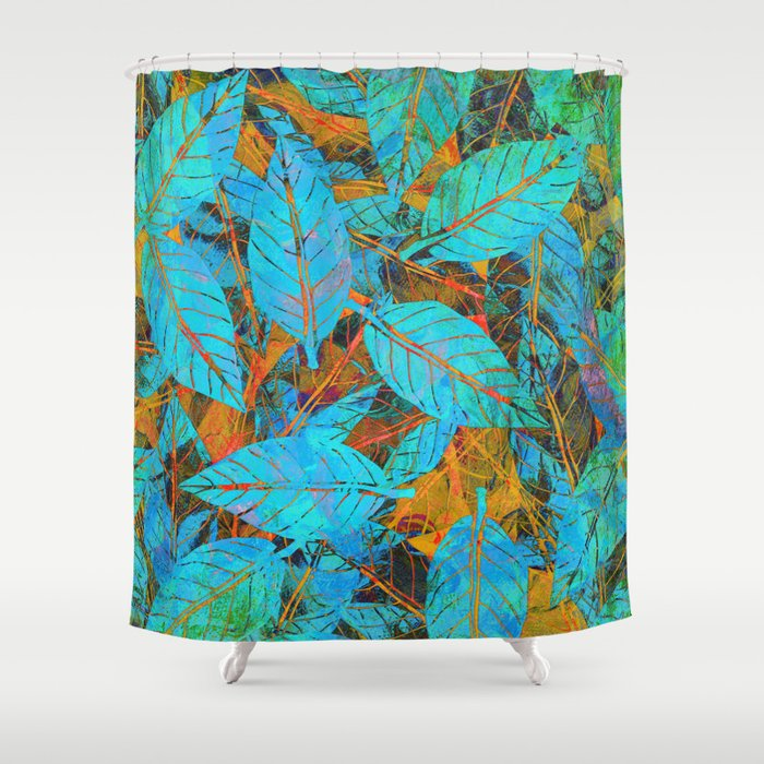 Blue Orange Leaves Shower Curtain By Klara Acel Society6