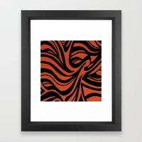 Orange & Black Waves Framed Art Print