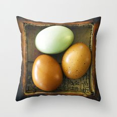 Three Eggs Throw Pillow