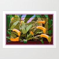 Orchids Tangerine Art Print