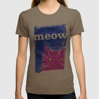 Crayon Cat Womens Fitted Tee Tri-Coffee SMALL