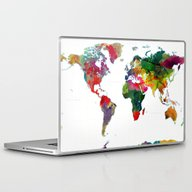 Watercolor World Map #3 Laptop & iPad Skin