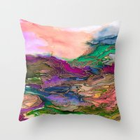 BRING ON BOHEMIA 1 Bold Rainbow Colorful Watercolor Abstract Metallic Accent Summer Peach Pink Green Throw Pillow