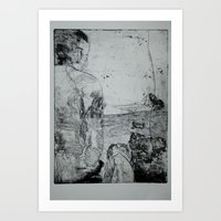 A Man And A Dog Art Print