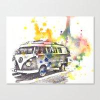 Classic Vw Volkswagen Bus Van Painting Canvas Print