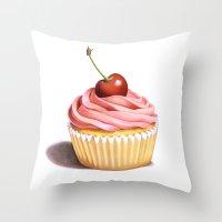 The Perfect Pink Cupcake Throw Pillow