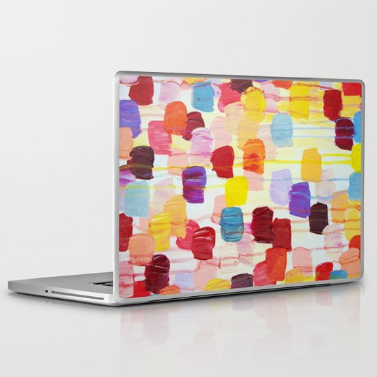 DOTTY - Stunning Bright Bold Rainbow Colorful Square Polka Dots Lovely Original Abstract Painting Laptop & iPad Skin