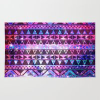 Head In Space | Girly Andes Aztec Pattern Pink Teal Nebula Galaxy Rug
