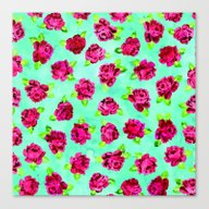 Canvas Print featuring Roses Pattern 03 by Aloke Design