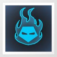 Hot Headed (Blue) Art Print