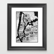 Hip-Hop Map of New York Framed Art Print
