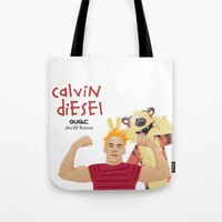 coupling up (accouplés) Calvin D and Hobbes Tote Bag