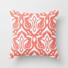 Ikat Damask Coral Throw Pillow