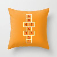 Hopscotch Orange Throw Pillow