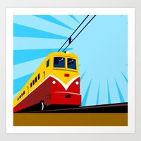 Electric Passenger Train Retro Art Print