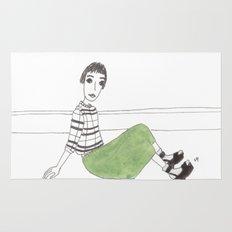 girl on the floor Rug