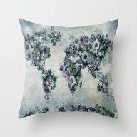 World Map Floral Black A… Throw Pillow