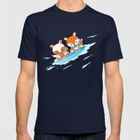 Skiing Mens Fitted Tee Navy SMALL