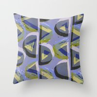 Blue Lino and Digital Pattern Print Throw Pillow