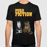 Purr Fiction Mens Fitted Tee Tri-Black SMALL