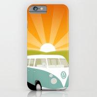 iPhone & iPod Case featuring Retro Volkswagen Bus - Sunset by Teacuppiranha