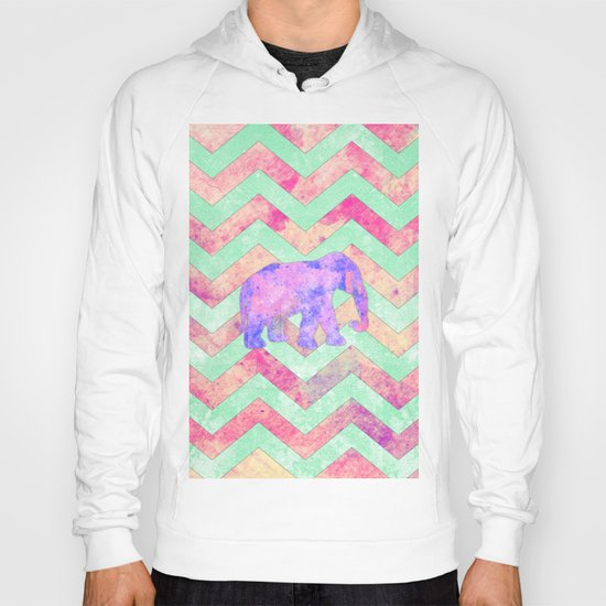 Whimsical Purple Elephant Mint Green Pink Chevron Hoody