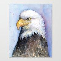 Bald Eagle Portrait Watercolor Painting Bird Canvas Print