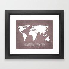 Adventure Awaits World Map Framed Art Print
