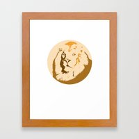 Noble Lion Totem Portrait Framed Art Print