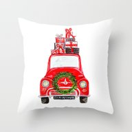 Red Christmas Car - Whit… Throw Pillow