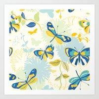 Butterflies In The Garde… Art Print