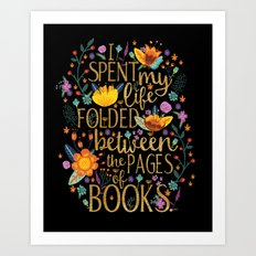 Folded Between the Pages of Books - Floral Black Art Print